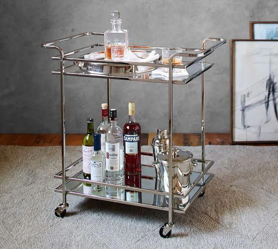 Glamorous Bar Cart 2 Tier Metal Glass Tea Server Champagne Gold Frosted Glass