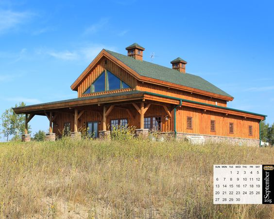Wood homes gambrel and photo galleries on pinterest for Gambrel barn homes kits