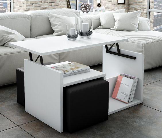 Mesa de centro elevable con 2 poufs valeria mesas de centro muebles de apoyo sof s y - Conforama mesa centro elevable ...