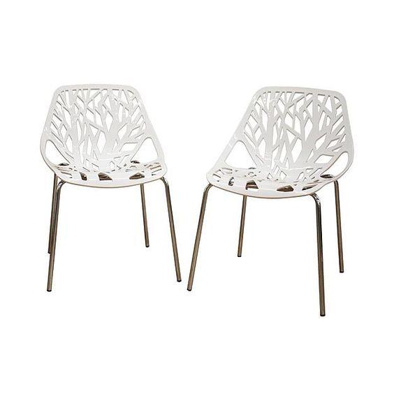 Baxton Studio Birch Sapling White Plastic Accent / Dining Chair (Set of 2)