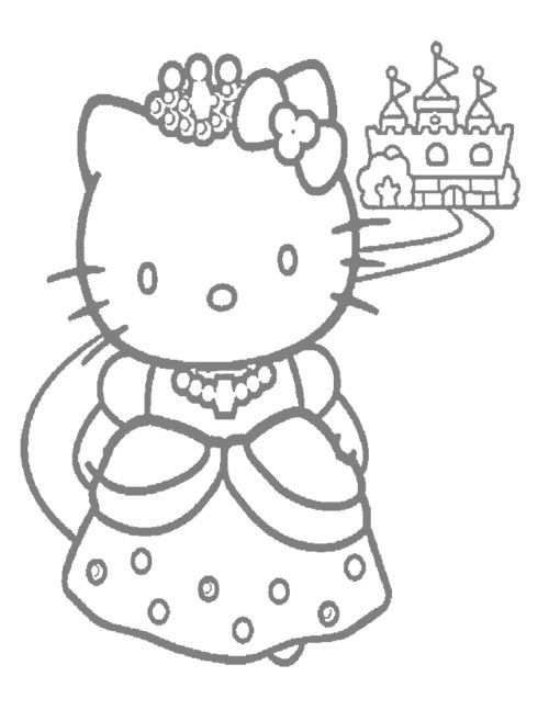 Hello Kitty princess with castle  Coloring pages princesses