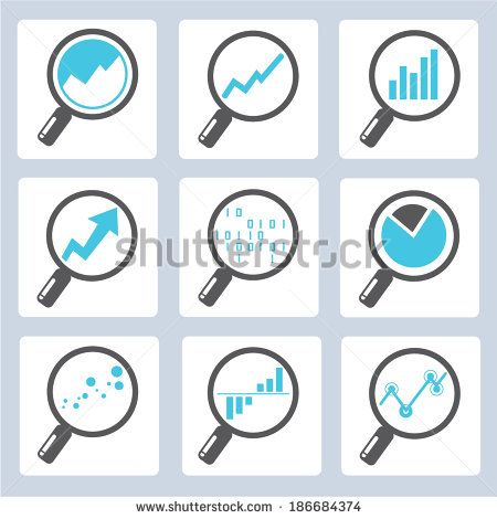 magnifier icons, analysis icons - stock vector