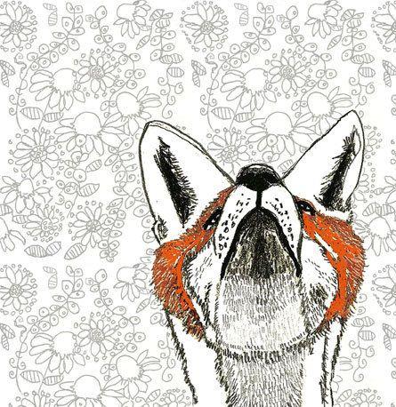 Fox Art Print - Falling Flowers Drawing