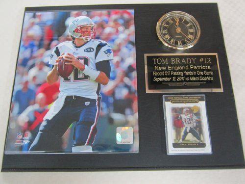 "Tom Brady New England Patriots Collectors Clock Plaque w/8x10 Photo and Card by J & C Baseball Clubhouse. $39.99. This 12""x15"" plaque is a must have for any sports fan or collector! Comes complete with licensed 8x10 glossy photo, battery operated clock (complete with AA battery) and official card(s). Perfect for any den, office or mancave!"