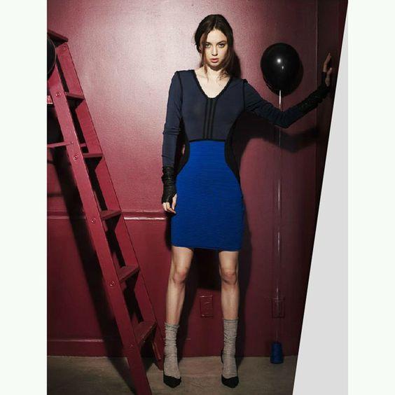 Herve Leger Black Colorblock Bandage Dress   http://www.luxurydressessale.com/herve-leger-blackblue-colorblock-bandage-dress-p-10170.html