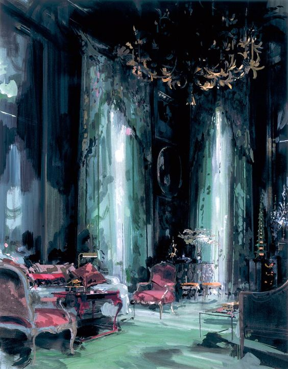 a-l-ancien-regime:  Moody gouache paintings of legendary interiors by Jeremiah Goodman Tony Duquette's living room: