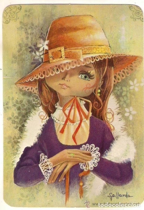 64847 Calendario Dibujo Nina Con Sombrero Ilustracion Gallarda Ano 1987 Extranjero Foto 1 Munecas Caricatura Arte Vintage Boceto De Chica