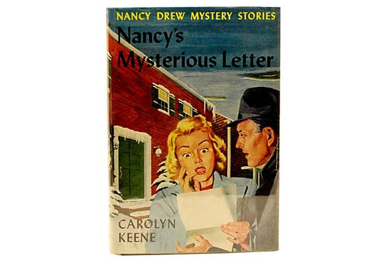 This is the 1932 Nancy Drew book that I spent maybe a dollar on--but no dust jacket.  Nancy's Mysterious Letter on OneKingsLane.com  $89