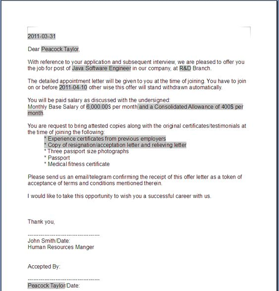 certificate of acceptance sample