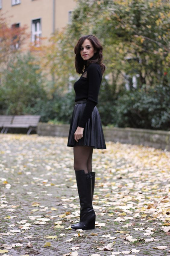 Boots And Leather Skirt | Jill Dress