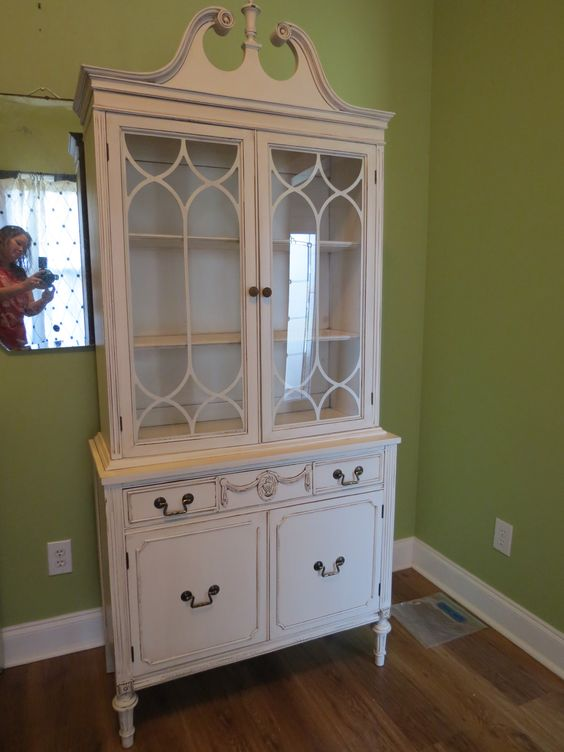 Creamy distressed china cabinet chrissie 39 s collection for Chinese kitchen cabinets nj