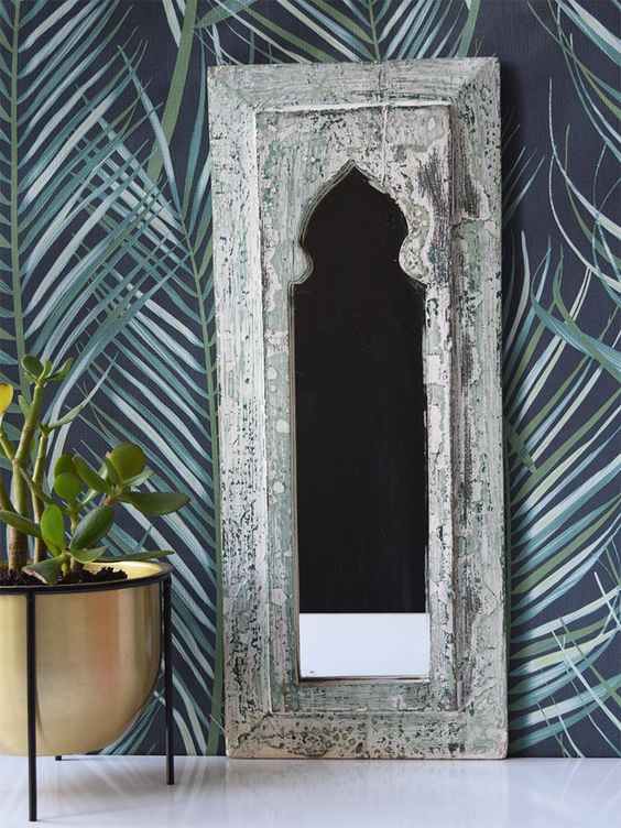 Rustic Green And White Distressed Mirror 49 Cm X 20 5 Cm Distressed Mirror Mirror Reclaimed Wood Mirror