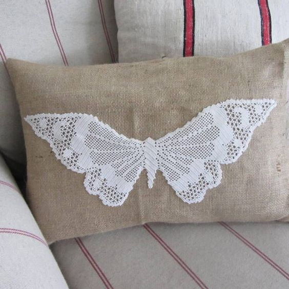UNIQUE HESSIAN CUSHION WITH VINTAGE CROCHET LACE BUTTERFLY