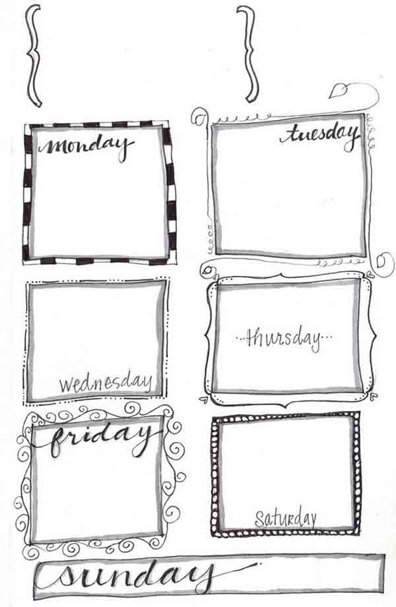 Heart, Google and Free printables on Pinterest - sample weekly agenda