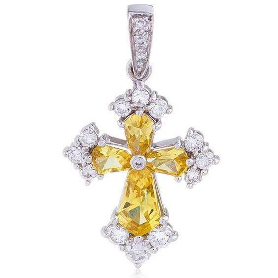 Pingente-em-Ouro-Branco-Cruz-com-Safiras-Amarelas-e-Diamantes