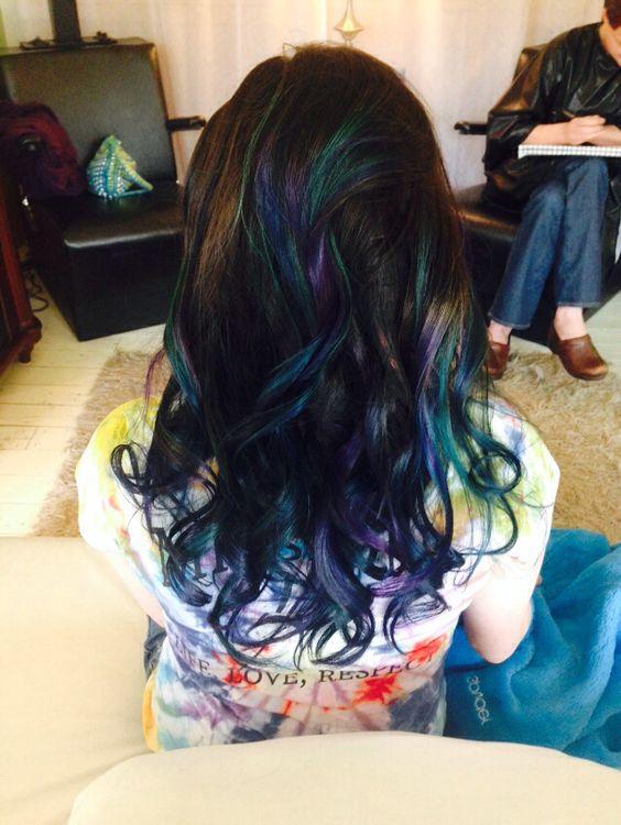 purple, teal, blue hair