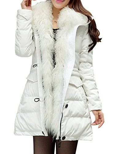 RUI-LI Women's Thinken Winter Down Parka Coat With Faux Fur Trim ...