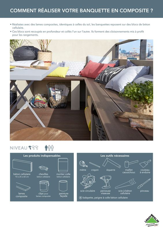 Cr er une banquette en composite home pinterest banquettes et ps - Banquette beton cellulaire ...