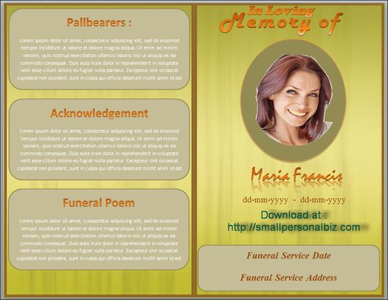 Download funeral program template in MS Word with design of brown – Download Funeral Program Template