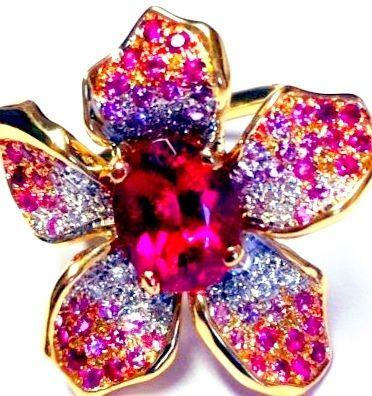 Bague fleur Rubelite et diamants  Signée Cameo