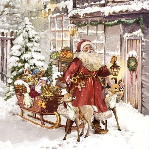 3-ply Christmas 4 Individual Napkins for Craft and Napkin Art. 33 x 33cm Santa Automobile 4 Paper Napkins for Decoupage