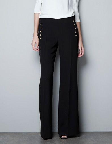 side studded trousers ++ zara