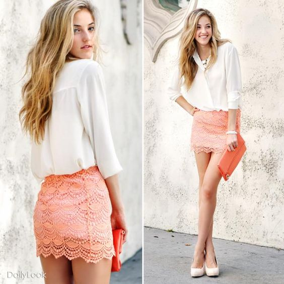 chic placket button down top and coral colored scalloped crochet mini skirt <3