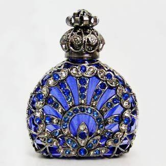 Handmade, Mouth Blown Czech Bohemian Glass. Historical replica of centuries old perfume bottle