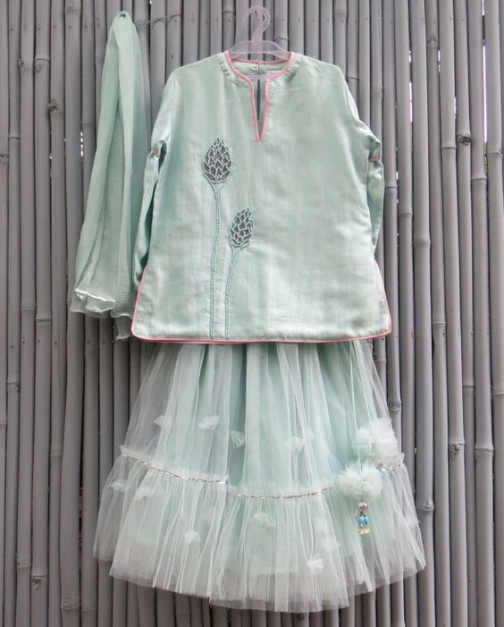 Light Teal Lengha Set - kidswear - kid's lengha - kid's lehenga ...