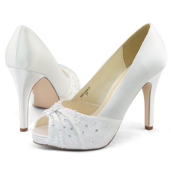 Details about Womens white satin beads wedding dress peep toe ...