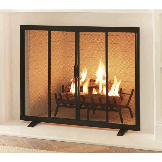 Black Powder Coated Steel 1 Panel Flat Twin Door Fireplace Screen At