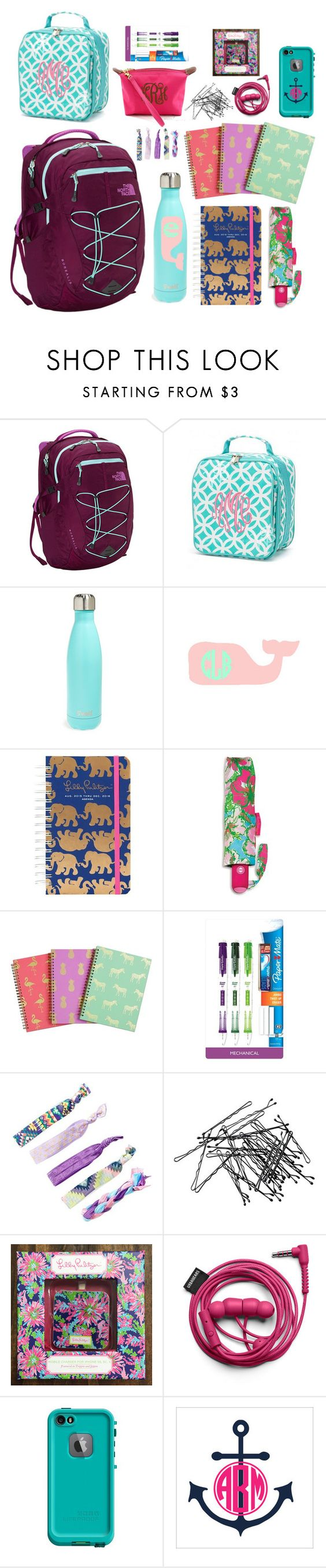 """Dream backpack and supplies"" by pineappleprincess1012 ❤ liked on Polyvore featuring The North Face, S'well, Lilly Pulitzer, Paper Mate, H&M, LifeProof and Champion"