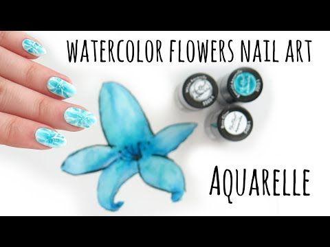 Neo Nail Aquarelle Jak Zrobic Akwarelowe Kwiaty Na Hybrydzie Youtube Flower Nail Art Emerald Nails Flower Nails