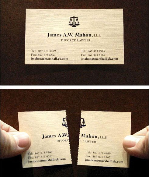 Tarjeta de abogado especialista en divorcios