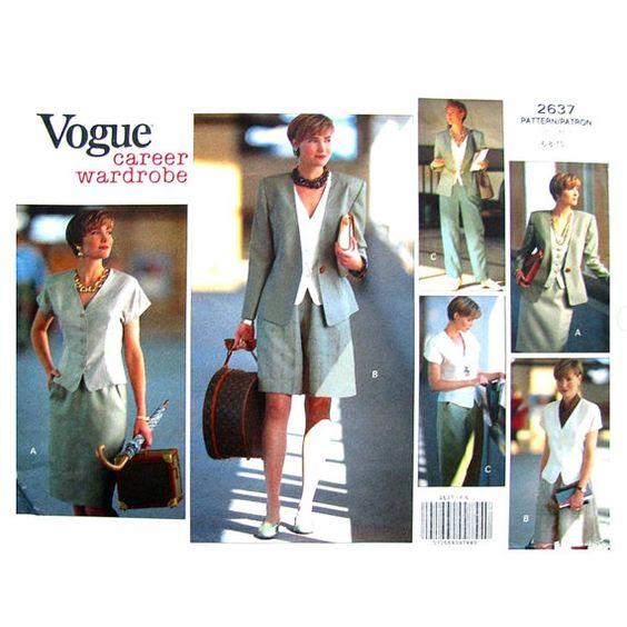 Womens Wardrobe Pattern Vogue 2637 Jacket by finickypatternshop