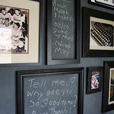 doing chalkboard painted frames might work, I'm still afraid to commit to a whole chalkboard wall