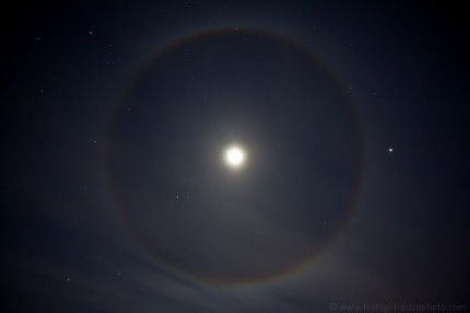 """Winter Halo"" created by refracted light from ice crystals.  Beautiful! 12-28-12"