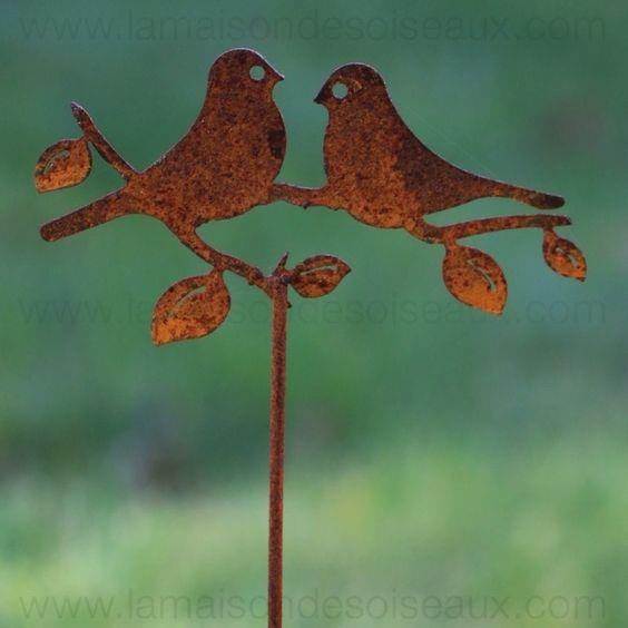 Tuteur silhouette oiseaux en fer patine rouille garden Deco jardin fer rouille