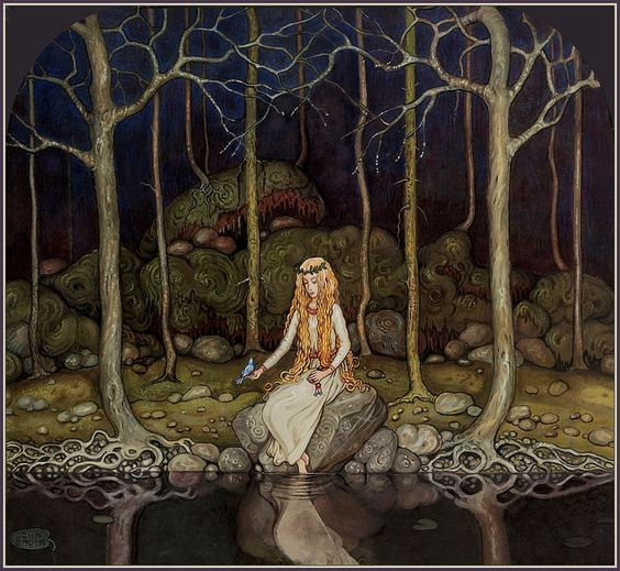"""""""The Princess in the Forest"""" by John Bauer (1882 – 1918), Swedish painter and illustrator"""