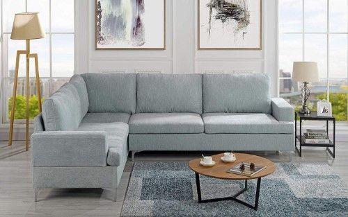 Velvet 101 5 Inch Sectional Sofa Classic Living Room L Shape Couch Light Grey Light Blue Blue Living Room Sets Light Blue Sofa L Shaped Couch
