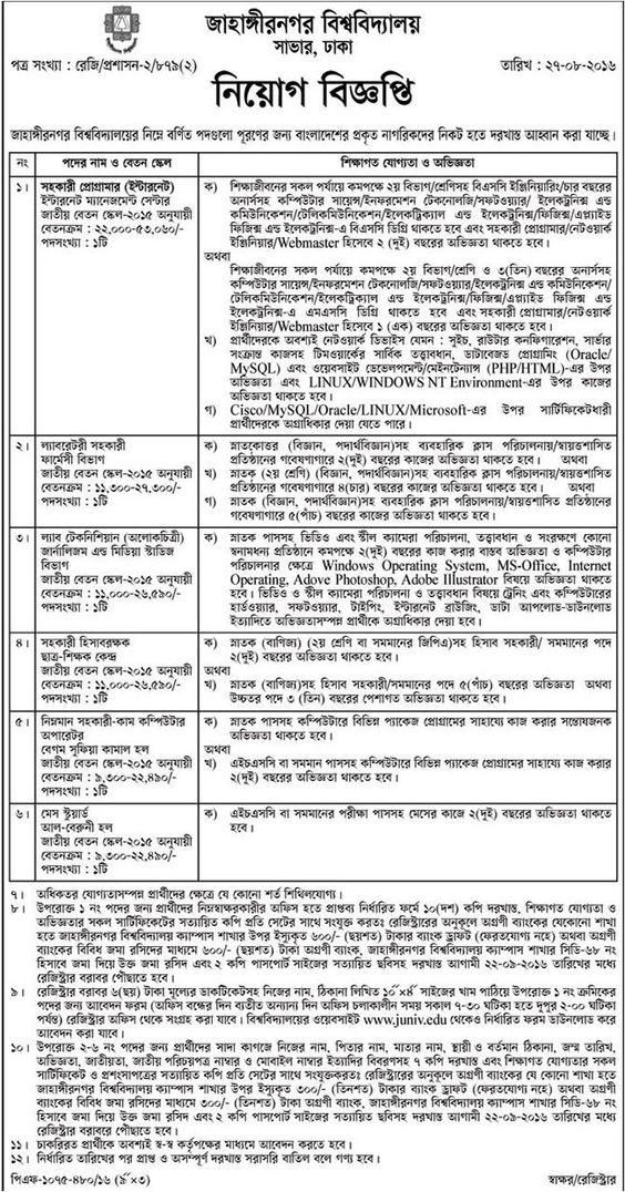 Jahangirnagar University Job Circular Job Circular Pinterest - webmaster job description