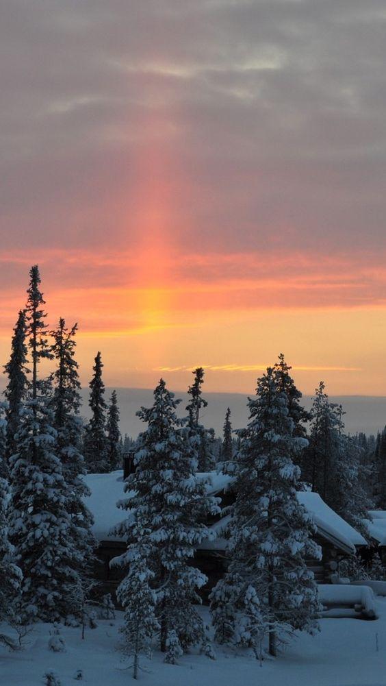 morning, dawn, rising, sky, trees, snow, winter, awakening, lodges, village Wallpaper Apple WallpapeprsCraft