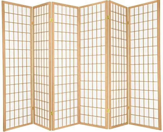 6 Panels Japanese Oriental Style Room Screen Divider Natural Color By Legacy Decor Room Divider Screen Room Divider Panel Room Divider