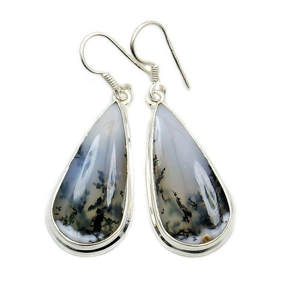 Fascinating Dendritic Opal Earrings & Sterling by TheSilverPlaza