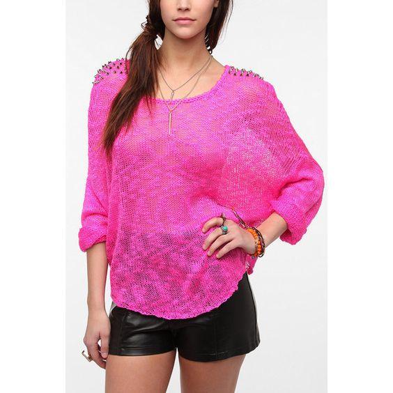 Reverse Studded Shoulder Oversized Sweater ($69) ❤ liked on Polyvore