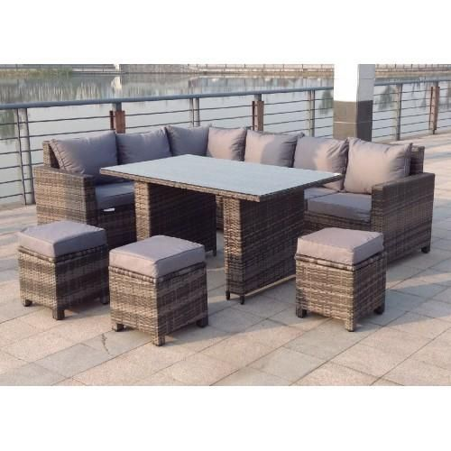 Denver Rattan Corner Sofa Casual Dining Set In Grey High Quality Uv Light Resistant And Weatherproof Rattan Furniture Set Outdoor Sofa Sets Rattan Corner Sofa