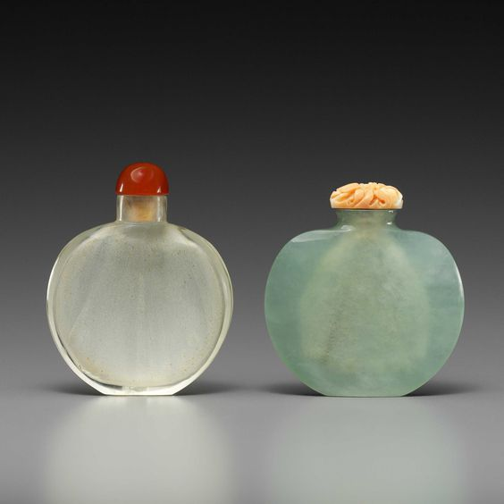 A ROCK CRYSTAL BOTTLE AND A PALE GREEN JADEITE BOTTLE Christie's Chinese Works of Art Online Only: Snuff Bottles & Books