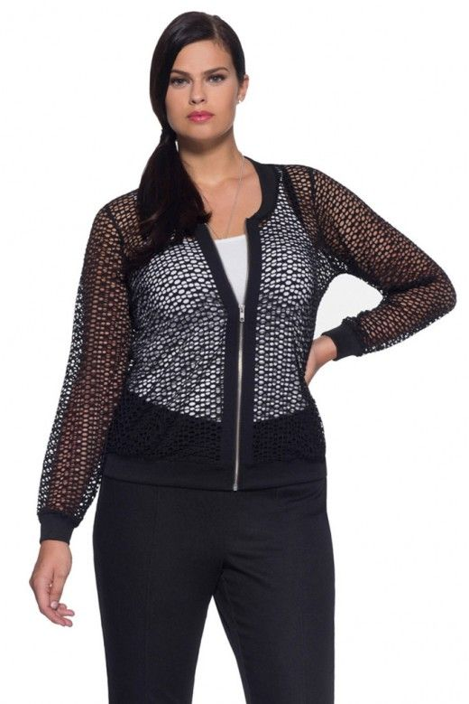 Plus Size Mesh Bomber Jacket in Black