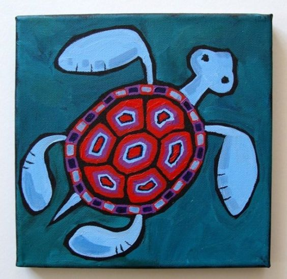 Swimming Turtle on Teal  Acrylic on Canvas by EastboundSquirrel, $20.00