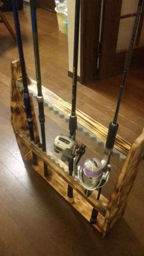 リール リールスタンド リールディスプレイ 収納 整理整頓 百均 釣り 暇つぶし 雨 自作 Diy 趣味の部屋 収納 新築 トイレ